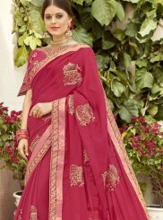 Embroidered Georgette Rose Pink Classic Saree