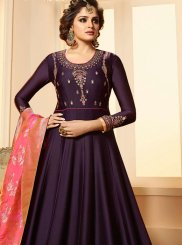 Embroidered Georgette Satin Anarkali Suit in Violet