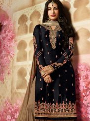 Embroidered Georgette Satin Black Designer Pakistani Suit