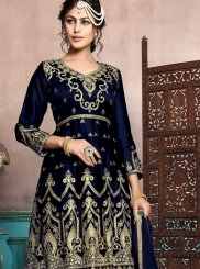 Embroidered Georgette Satin Black Designer Palazzo Salwar Suit