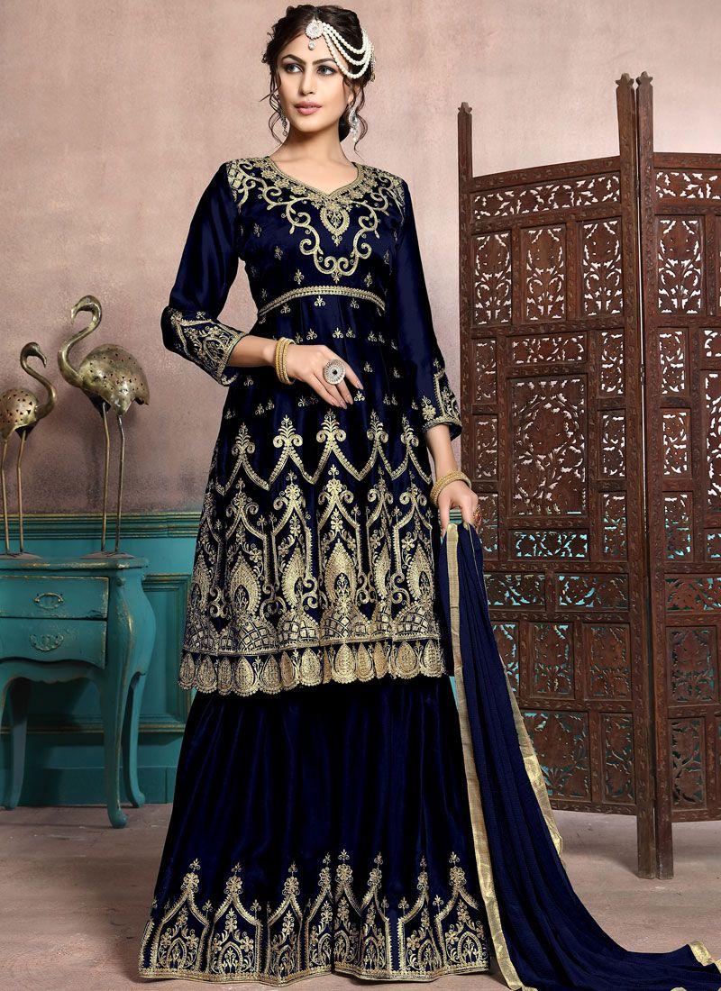 Embroidered Georgette Satin Black Designer Palazzo Salwar Suit