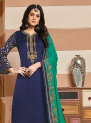 Embroidered Georgette Satin Blue Designer Suit
