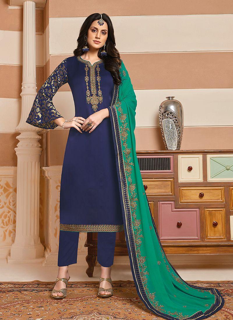 Embroidered Georgette Satin Blue Designer Suit