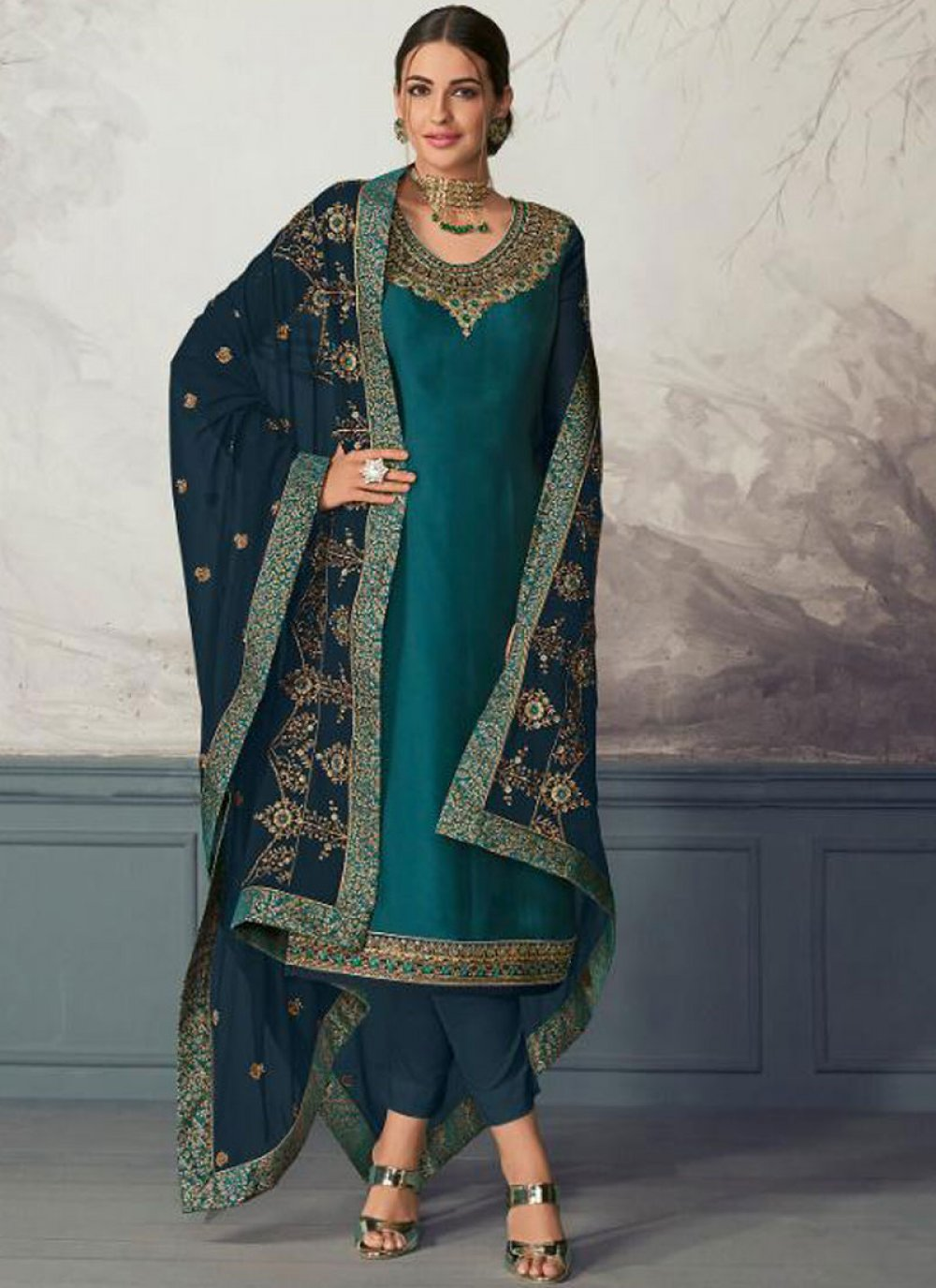 Embroidered Georgette Satin Blue Pant Style Suit