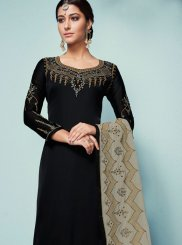 Embroidered Georgette Satin Churidar Designer Suit