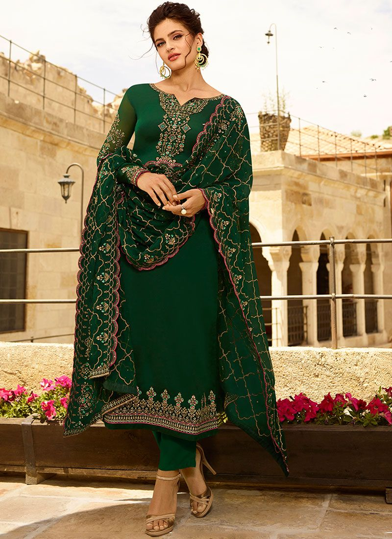 Embroidered Georgette Satin Churidar Designer Suit in Green