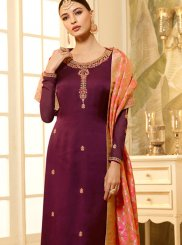 Embroidered Georgette Satin Churidar Designer Suit in Wine