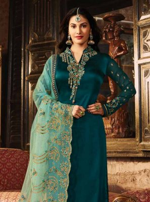 Embroidered Georgette Satin Churidar Salwar Kameez