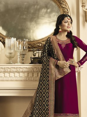 Embroidered Georgette Satin Churidar Suit