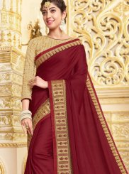 Embroidered Georgette Satin Classic Designer Saree