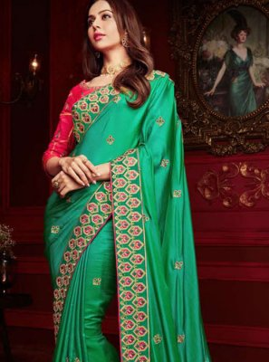 Embroidered Georgette Satin Classic Designer Saree in Green