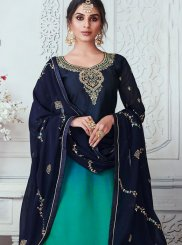 Embroidered Georgette Satin Designer Lehenga Choli in Green and Navy Blue