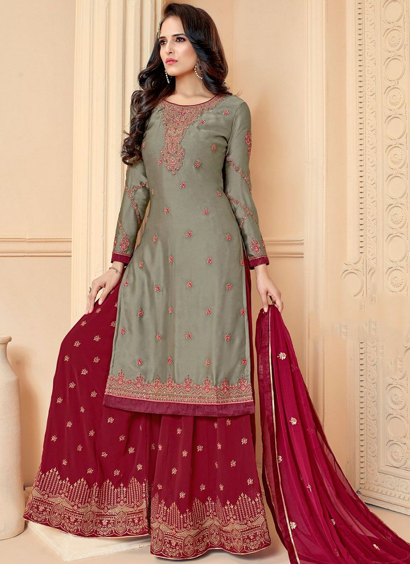 Embroidered Georgette Satin Designer Palazzo Suit