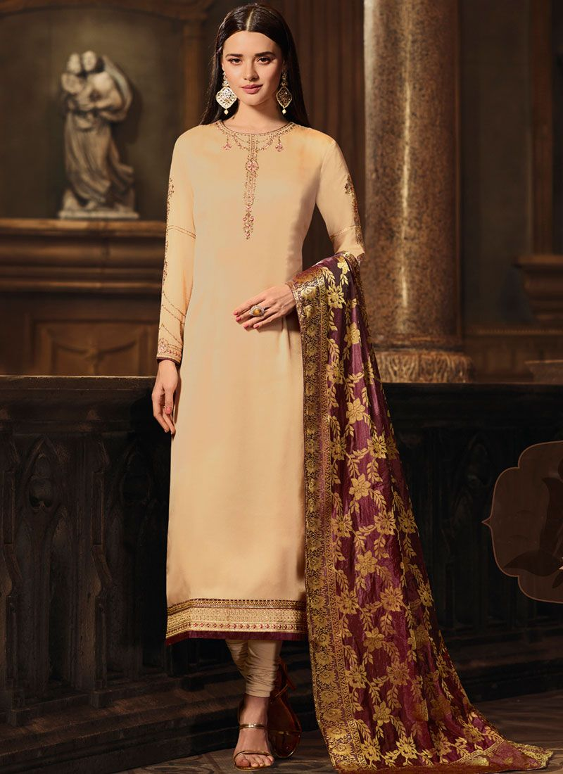 Embroidered Georgette Satin Designer Straight Suit