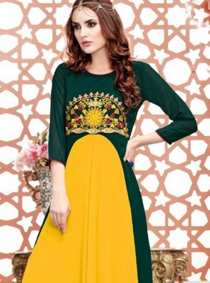 Embroidered Georgette Satin Green and Yellow Party Wear Kurti