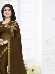 Embroidered Georgette Satin Green Casual Saree