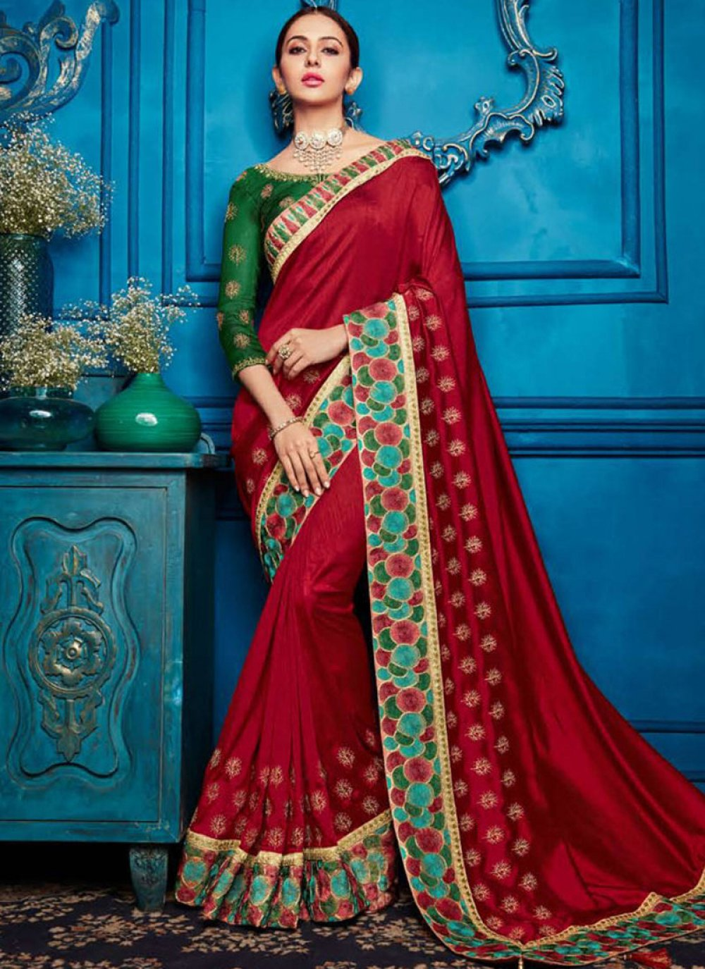 Embroidered Georgette Satin Maroon Classic Saree