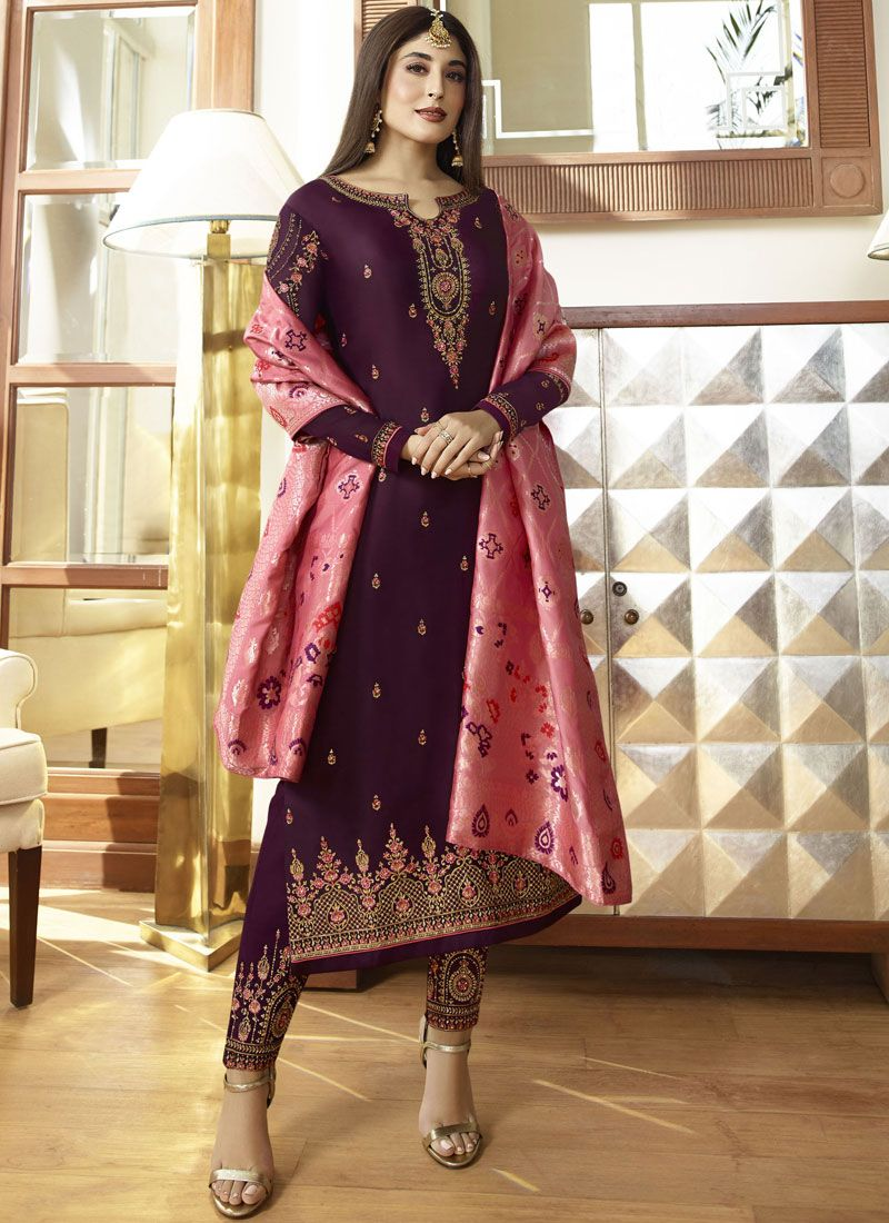 Embroidered Georgette Satin Pant Style Suit