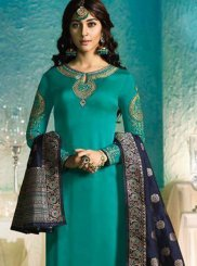 Embroidered Georgette Satin Sea Green Pant Style Suit