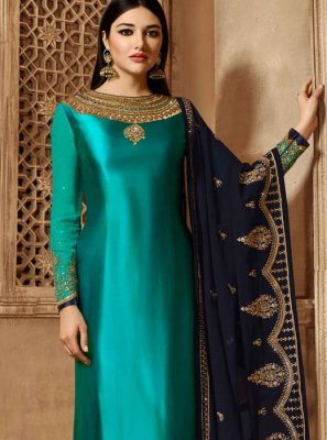 Embroidered Georgette Satin Teal Churidar Salwar Suit