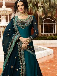 Embroidered Georgette Satin Teal Designer Lehenga Choli