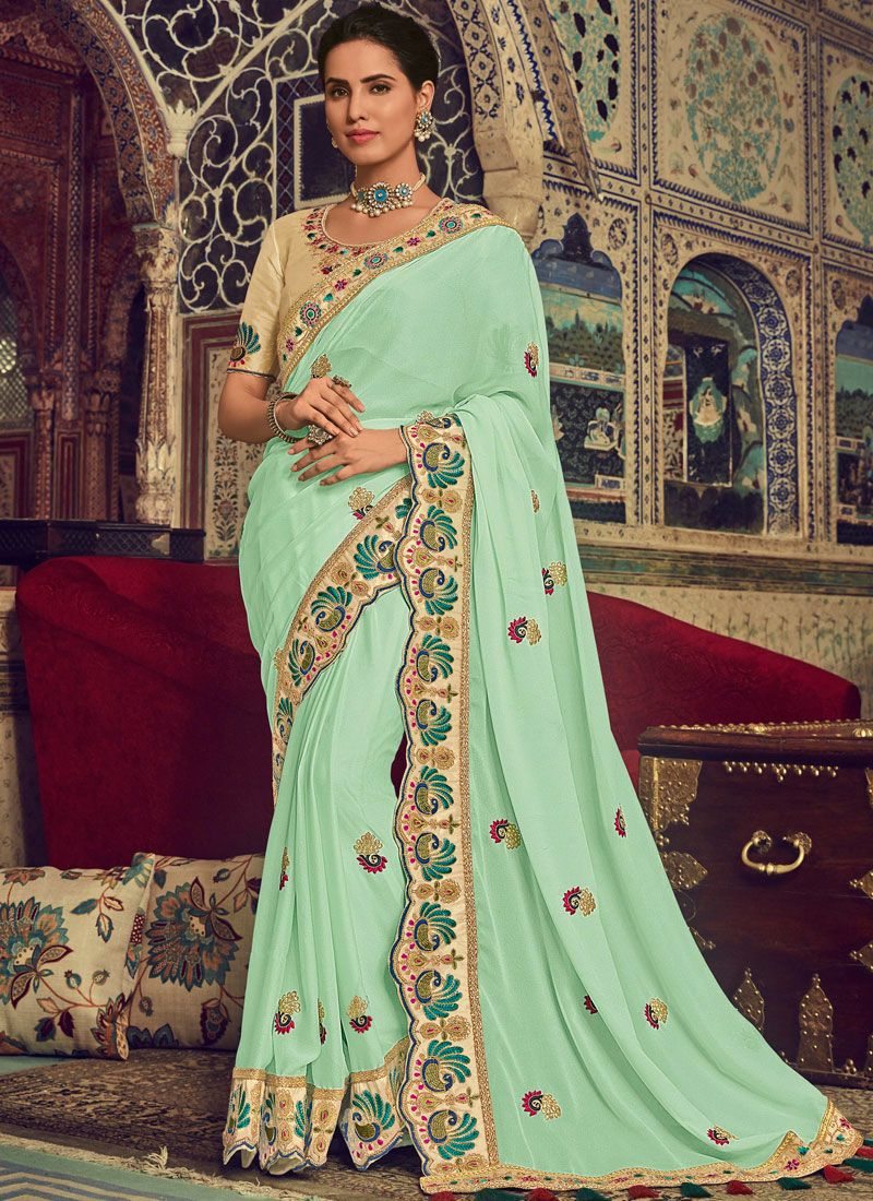 Embroidered Georgette Turquoise Classic Saree