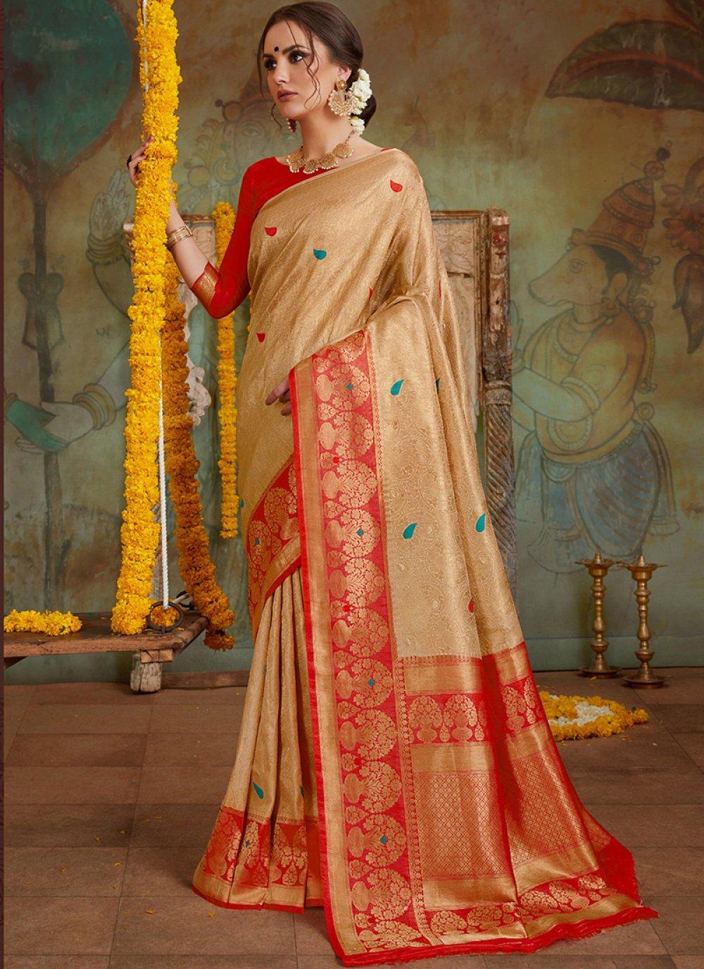 Embroidered Gold Classic Designer Saree