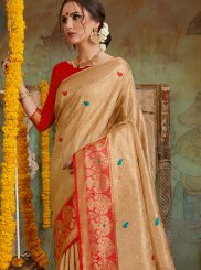 Embroidered Gold Classic Designer Saree