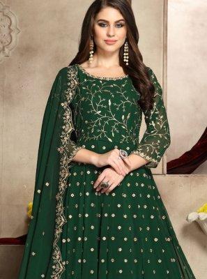 Embroidered Green Anarkali Salwar Kameez