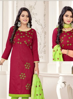 Embroidered Green and Magenta Churidar Salwar Suit