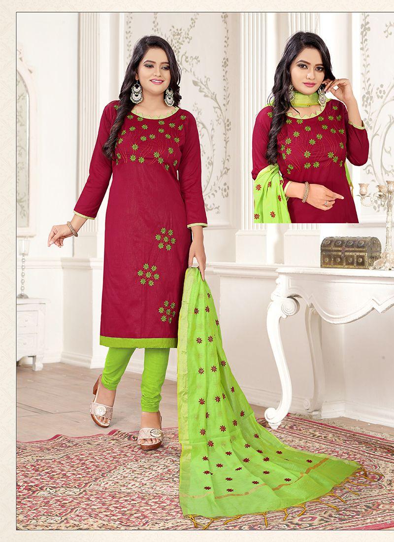Embroidered Green and Magenta Churidar Salwar Suit