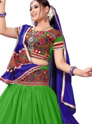 Embroidered Green and Multi Colour Cotton A Line Lehenga Choli