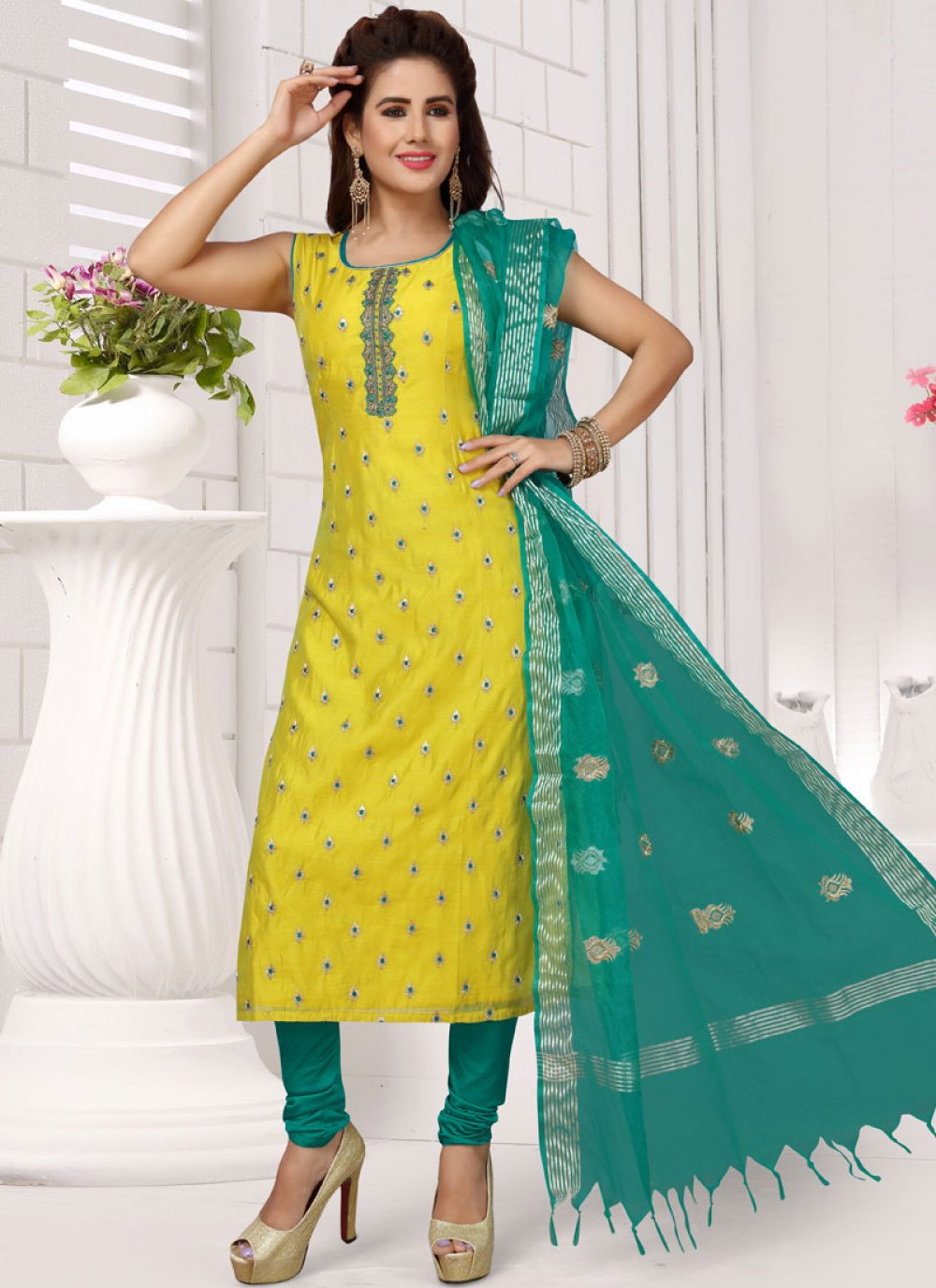 Embroidered Blue and Yellow Chanderi Readymade Suit