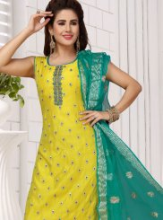 Embroidered Green and Yellow Chanderi Readymade Suit