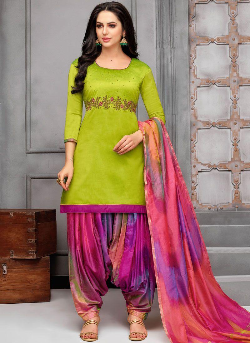 Embroidered Green Art Silk Designer Patiala Suit
