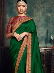 Embroidered Green Art Silk Designer Saree