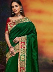 Embroidered Green Art Silk Designer Traditional Saree
