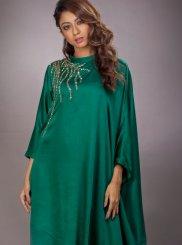 Embroidered Green Art Silk Party Wear Kurti