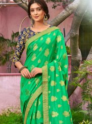 Embroidered Green Art Silk Traditional Designer Saree