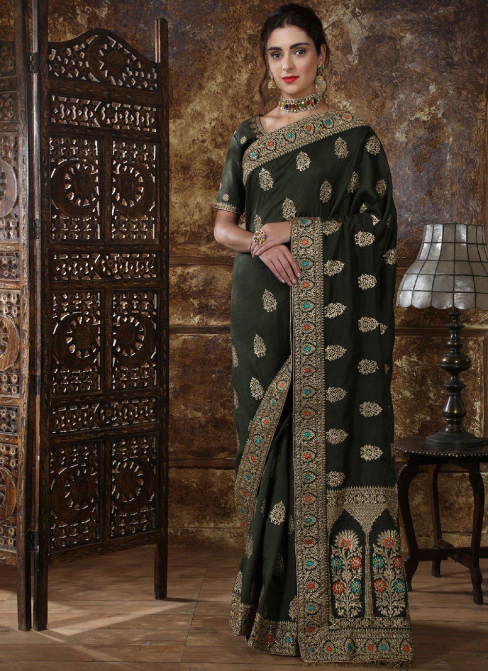 Embroidered Green Art Silk Traditional Designer Saree