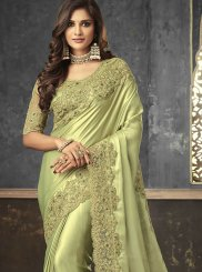 Embroidered Green Art Silk Trendy Saree