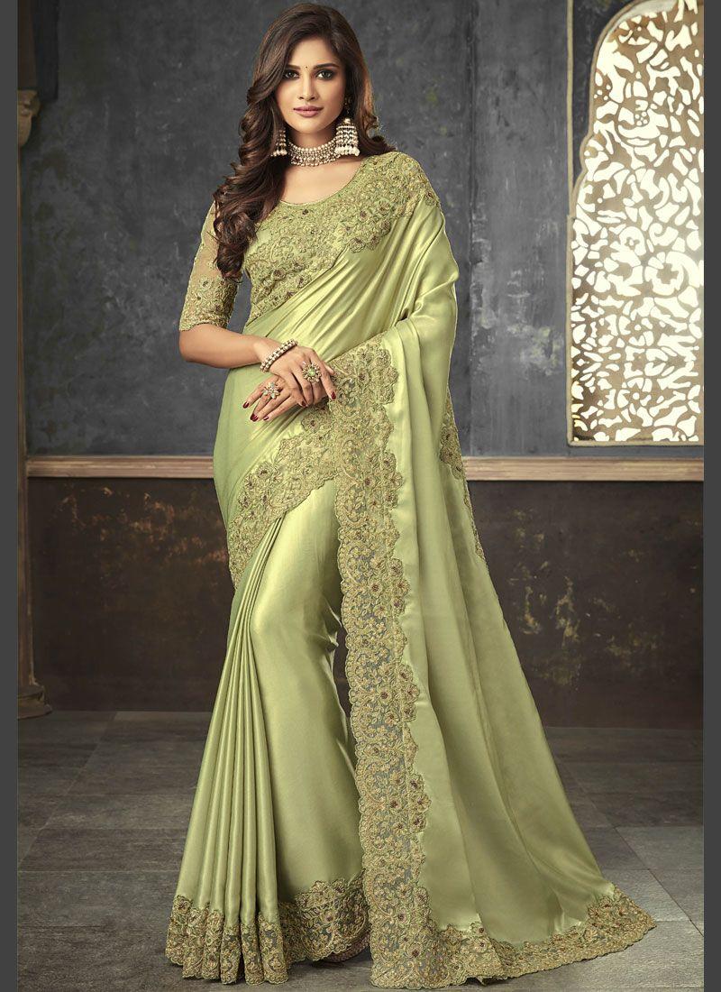 Embroidered Green Art Silk Trendy Saree