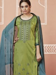 Embroidered Green Churidar Designer Suit