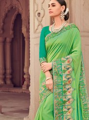 Embroidered Green Classic Designer Saree