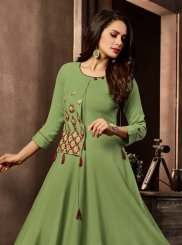 Embroidered Green Cotton Designer Kurti