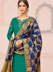 Embroidered Green Cotton Silk Churidar Designer Suit