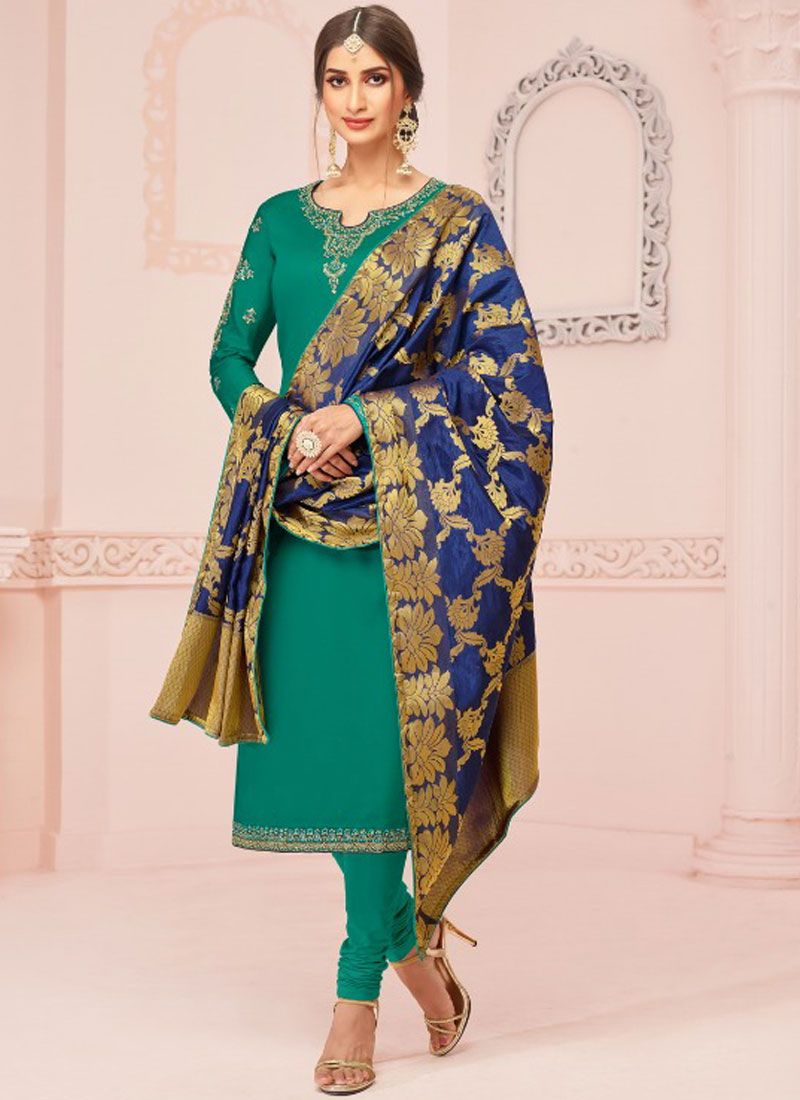 Embroidered Green Cotton Silk Churidar Designer Suit