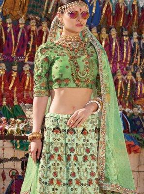 Embroidered Green Designer A Line Lehenga Choli