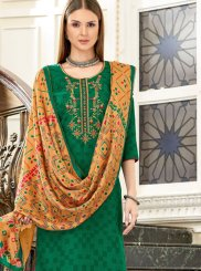 Embroidered Green Designer Palazzo Suit