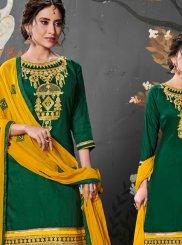 Embroidered Green Designer Patiala Salwar Kameez